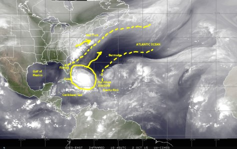 Satellite image of 10/02/2015 [NOAA] showing water vapor in the atmosphere, which helps visualize the path of least resistance opening between two atmospheric system that may pull JOAQUIN away from a direct hit on the U.S.A. coastal region
