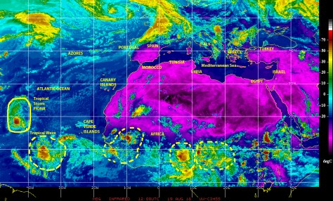 Infrared satellite image of 19 August 2016 showing tropical waves and storm cells over equatorial Africa, which continue to move west toward the warm waters of the eastern Atlantic.