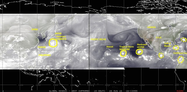 Mosaic of satellite images showing water vapor in the atmosphere over the Pacific Ocean on 28 August 2016