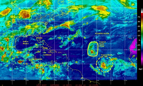 GOES East infrared satellite image of 19 August 2016 showing Tropical Storm FIONA over the central north Atlantic, being followed by a large Tropical Wave near the Cape Verde Islands