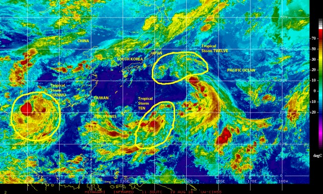Infrared satellit eimage of 19 August 2016 showing Tropical Storm DIANMU, two other tropical storms, and a large tropical wave active over the Northwestern Pacific ocean.