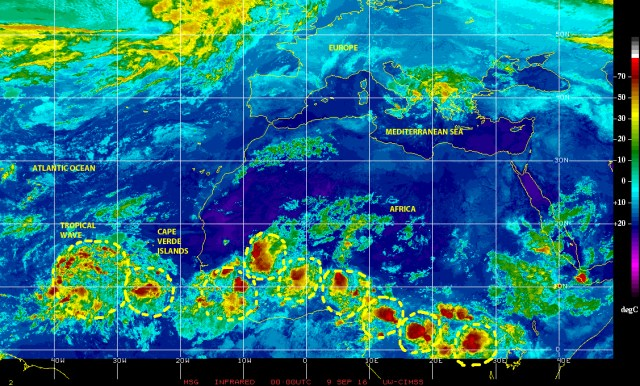 Infrared satellite image of 8 September 2016  showing at least eight tropical waves, of varying sizes and complexities, between eastern Equuatorial Africa and Eastern Atlantic waters south of the Cape Verde Islands