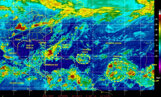 Infrared GOES EAST satellite image late on 8 September 2016 shows a strong tropical wave approaching the western Bahamas, another one over the Virgin Islands, and a rather large one along hurricane alley