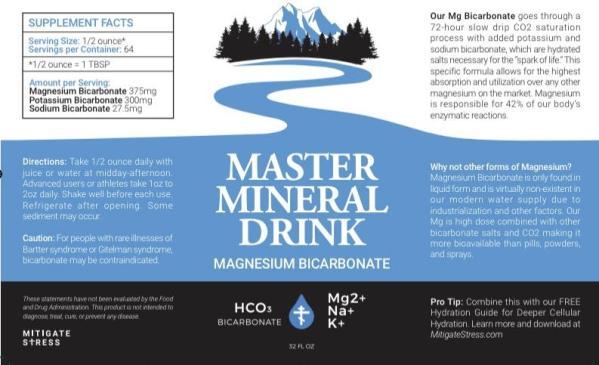 Master Mineral Drink Label Magnesium Bicarbonate