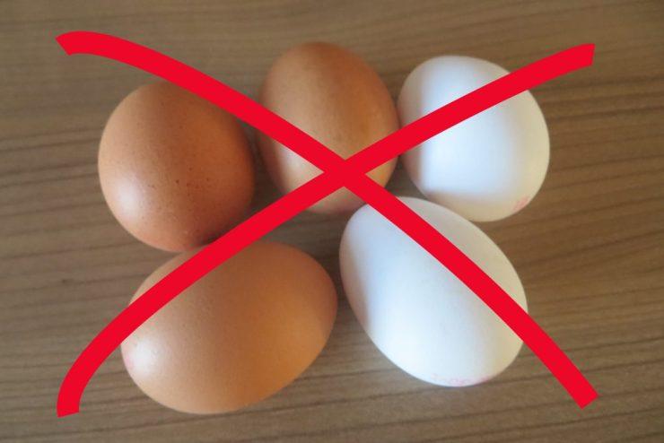 Eier durchgestrichen, eifrei, ohne Ei