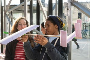 After extensive research and instruction, students from the sophomore class designed and built air gliders, each with various tweaks to optimize performance.