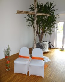 Unsere Stühle - mit Blick zu unseren Gästen