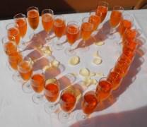 Schönes Detail: ein Aperol-Sekt-Herz
