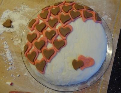 Der fertige Herzchen-Kuchen.