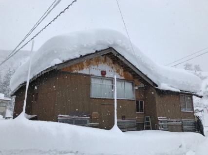 魚沼市内で空き家の屋根雪下ろし(ふるさと見張り番)