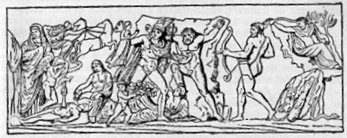 Prometeo, encadenado, es liberado del águila que le tortura por una flecha disparada por Hércules<br>(Relieve, Museo Capitolino, Roma)