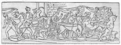 Meleagro cae combatiendo contra los curetes (Relieve, Villa Albani, Roma)