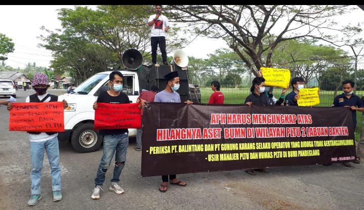 Gambar Diduga Kabel Kompreyor Milik Negara Raib, Puluhan Mahasiswa Gelar Aksi Demo di PLTU Banten 2 Labuan 1