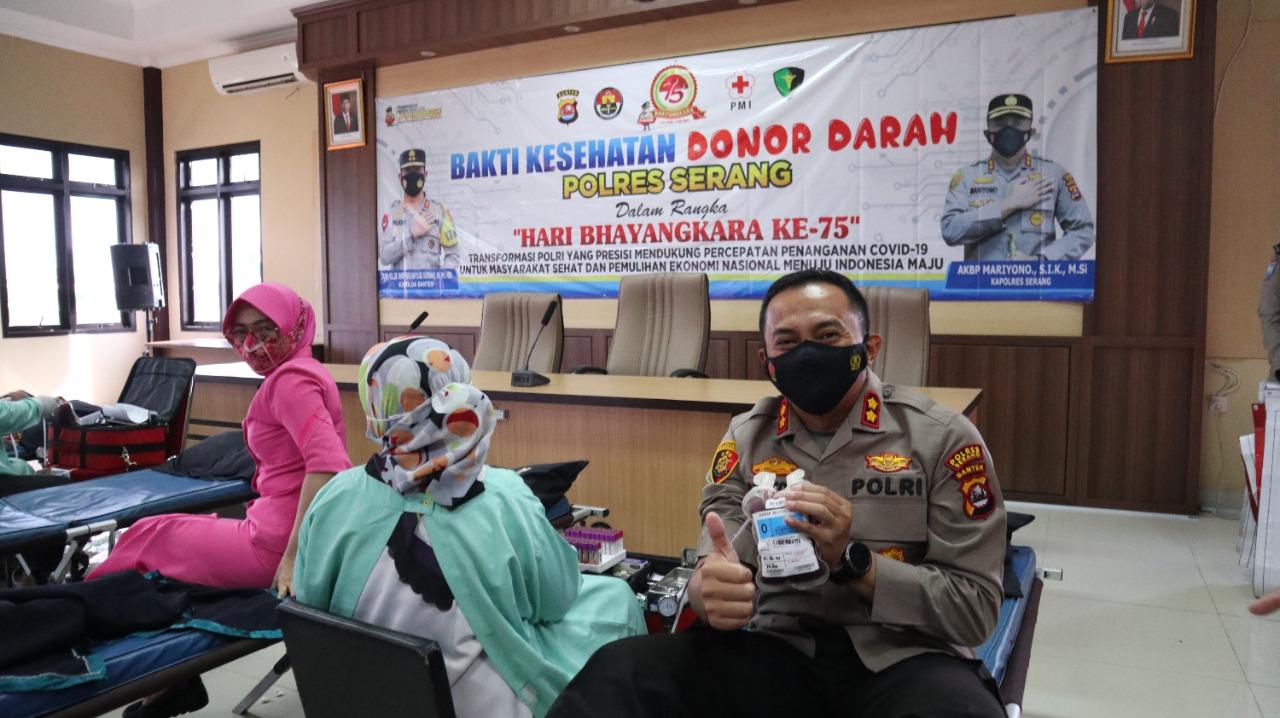 Gambar Rayakan HUT Bhayangkara Ke75, Polres Serang Gelar Donor Darah 13