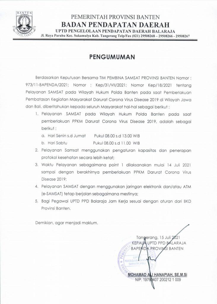 Gambar Selama PPKM Darurat, UPTD PPD Samsat Balaraja Ada Perubahan Jam Operasional ! Simak Selengkapnya di Sini 3