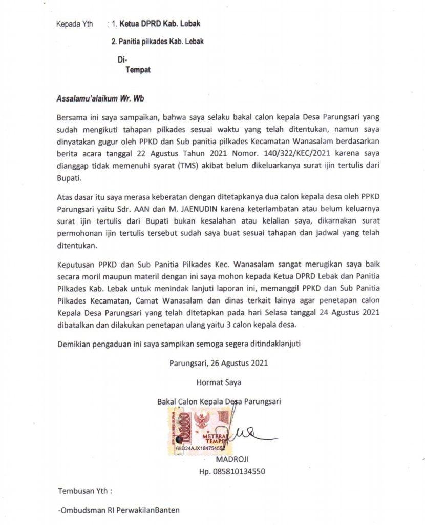 Gambar Merasa Didzholimi, PPKD Desa Parungsari Resmi Dilaporkan Balon TMS Ke Ketua DPRD Lebak 1