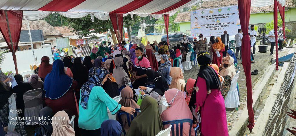 Gambar Rangkaian Peringatan HUT Kabupaten Serang ke-495, Camat Kecamatan Ciomas Gelar Vaksinasi 2000 Dosis 3