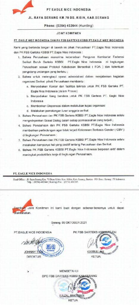 Gambar Serikat Buruh PK Garteks PT. Eagle Nice Indonesia Sudah Diterima Baik Pihak Perusahaan 3