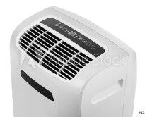 Studio closeup product shot of a portable air conditioner or mobile dehumidifier isolated on white background with copy space. Climate control equipment
