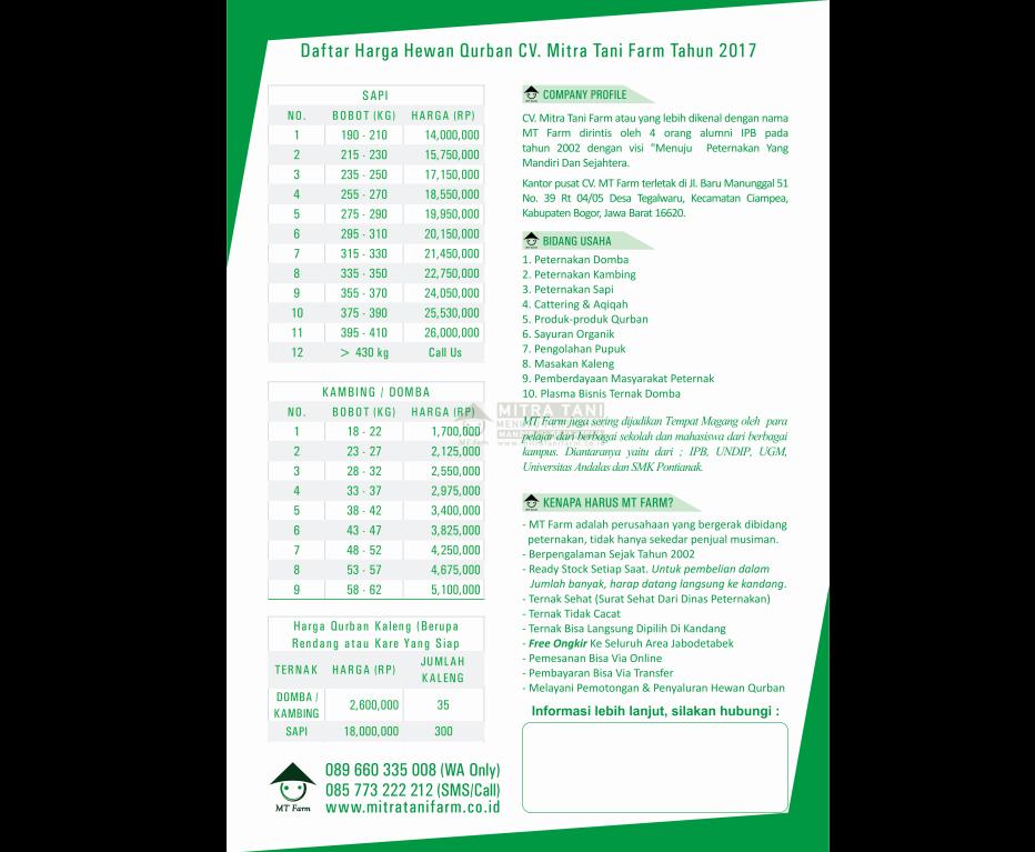 Daftar Harga Hewan Kurban Terbaru 2017 Mitra Tani Farm