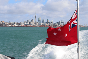 View of the Auckland skyline from the ferry