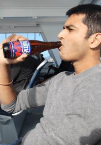 Sanchit enjoying his beer
