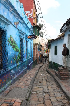 Walking through the streets of Bogota during the Graffiti tour