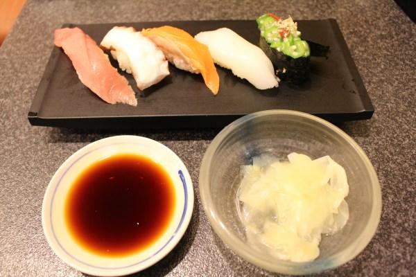 Tuna, Octopus, Salmon, and Squid sushi