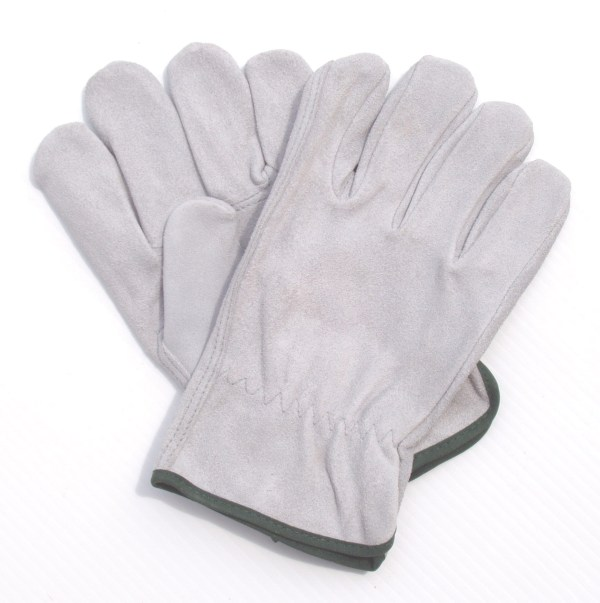 GREY ALL-LEATHER UNLINED GLOVES
