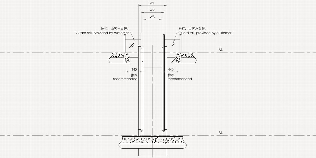 Civil Construction Drawing of Mitsubishi Escalator Series