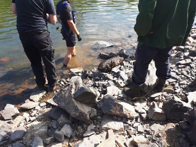 Bombenfund vom 30. Juli. Foto: Wasserschutzpolizei Bingen.
