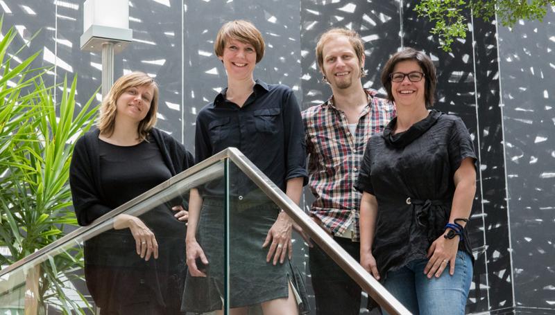 Verantwortlich für Open House Wien: v.l.n.r. Ulla Unzeitig (Organisation und Gebäude), Iris Kaltenegger (Gründerin und Projektleiterin), Robert Saringer (Sponsoring und Kooperationen) und Christine Steindorfer (PR und Kommunikation).