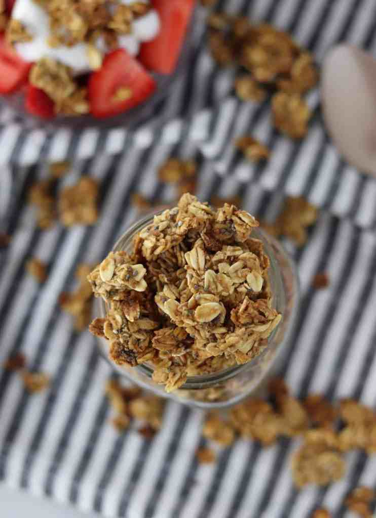 Chia & flax Granola Top View in jar