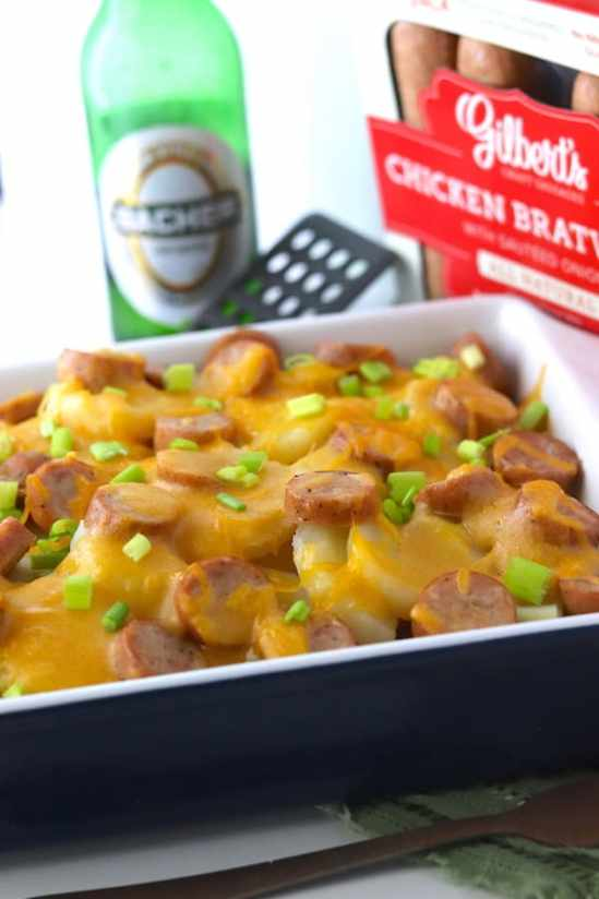 Beer Cheese & Chicken Brat Scalloped Potatoes with beer and sausage