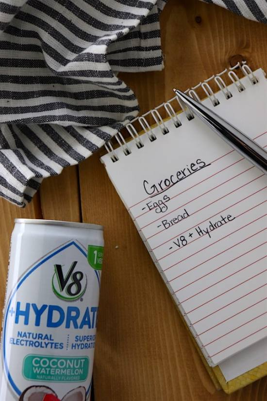v8 + Hydrate on grocery list