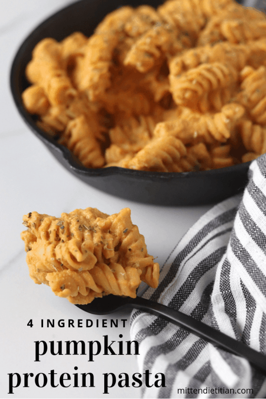 This easy and healthy 4 ingredient pumpkin protein pasta is the perfect quick dinner! It's SO delicious!    #easy #healthy #dinner #pumpkin #pasta
