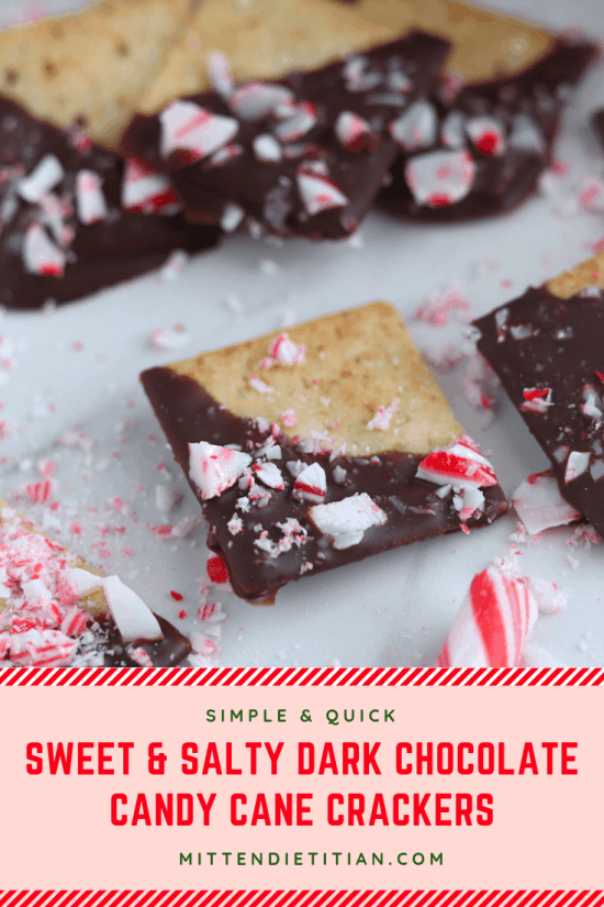 These sweet & salty dark chocolate candy cane crackers are SO easy to make but look like you spent hours on them! They're perfect for holiday gifting! #easy #darkchocolate #simplerecipe #easyrecipe #candycane #chocolatecovered #almondflour #glutenfree