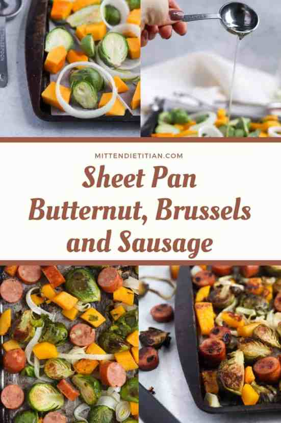 This sheet pan butternut, brussels, and sausage dinner will be your weeknight life saver! Quick, easy, and next to NO dishes!!!