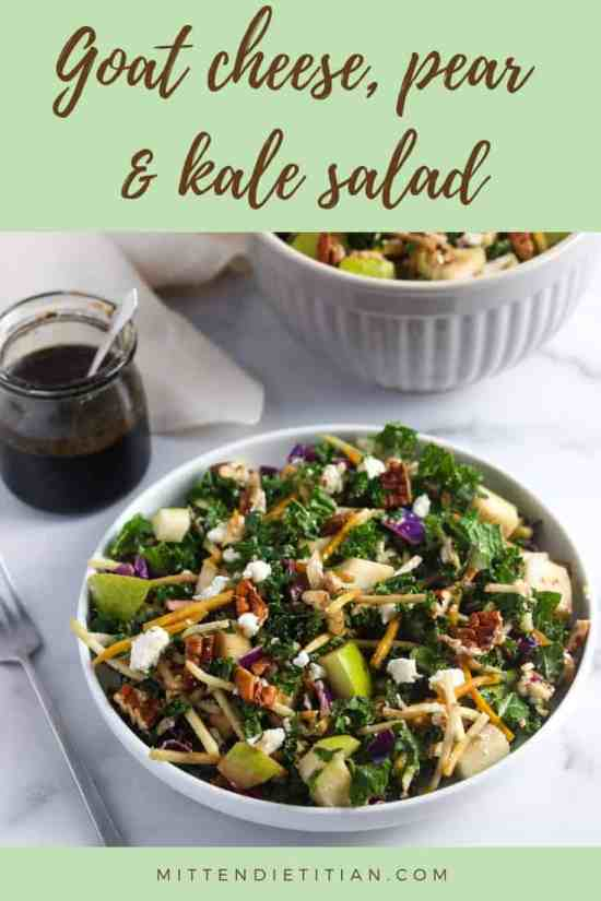 THE BEST goat cheese, pear & kale salad! It takes only 5 minutes to make and is the perfect recipe for meal prep or a busy weeknight dinner!
