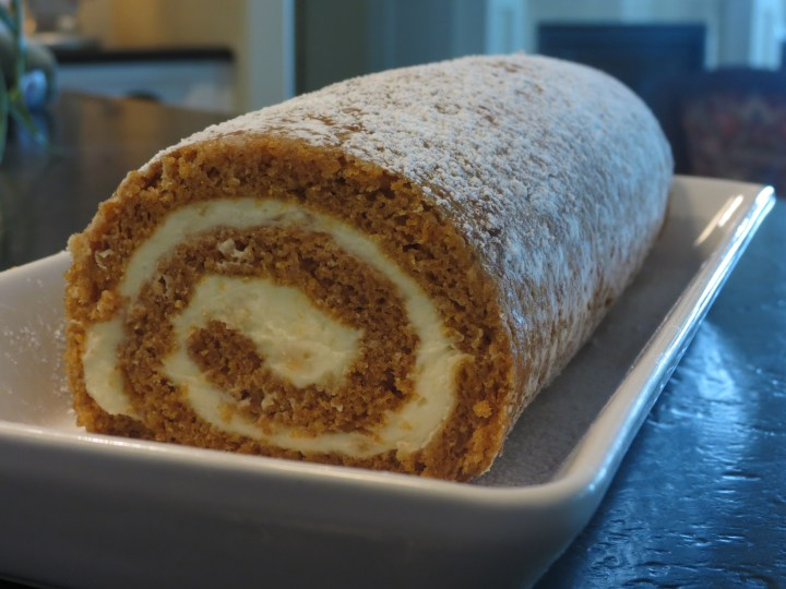 Roll Up Roll Up and You Have Pumpkin Roll With Ginger Cream!