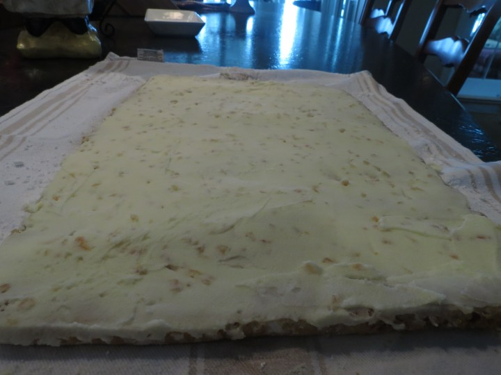 After Cooling Rolled Cake Completely, Spread with Ginger Buttercream