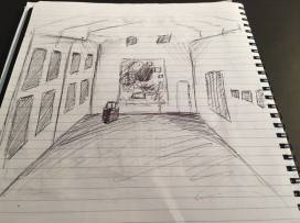 Sketch from City Gallery Wellington. The cavernous halls and large spaces are the focus of the buildings, betraying its older architectural design.