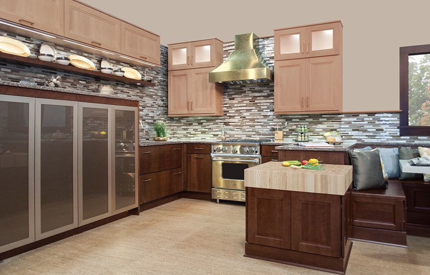 Wellborn Butcher Block Island Countertop with electrical lift range from 30-42 in. Accommodates all sizes, ages and needs.