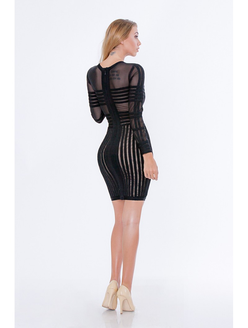 Black Sheer Bandage Dress