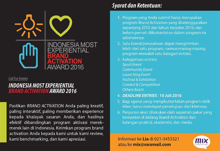 Call for Entries - Indonesia Most Experiential Brand Activation Award 2016