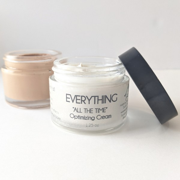 showing open everything all day cream and foundation made with cream base