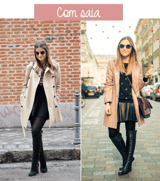 look trench coat com saia