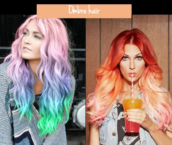 cabelos coloridos ombre hair laranja arco iris