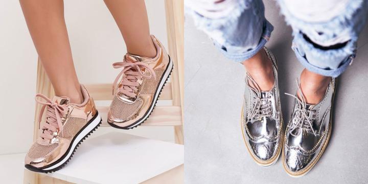 tênis e sapato oxfor metalizado