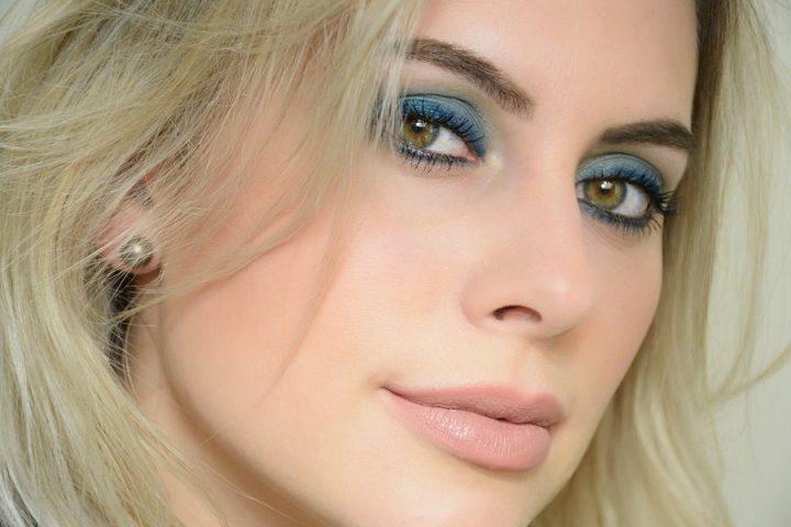 Maquiagem azul arco-íris de inverno